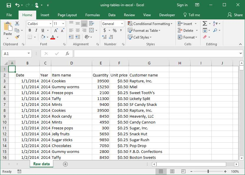 Using Tables in Excel Deskbright