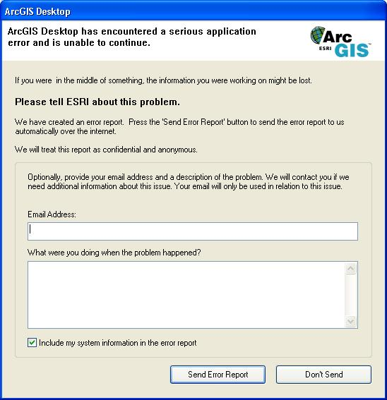 Error reporting for ArcGIS software\u2014Help ArcGIS for Desktop - problem report