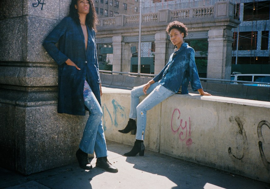 Naomi wears coat RAQUEL ALLEGRA. jeans RIALTO JEAN PROJECT. boots DR. MARTENS. Ashley wears jacket YALI MADE IN CHINA. jeans RE/DONE. boots ALTUZARRA.