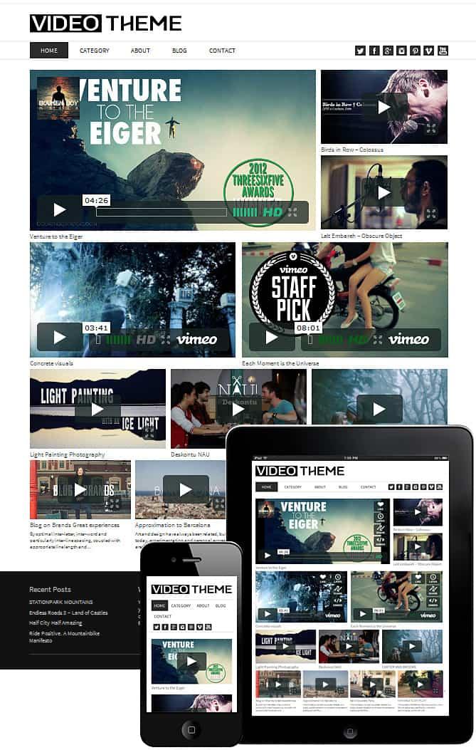WordPress Video Theme Responsive 2017 -Dessign Themes
