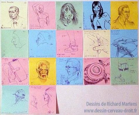 17 dessins réalisés, un par jour, par Richard Martens, sur des Post-it.
