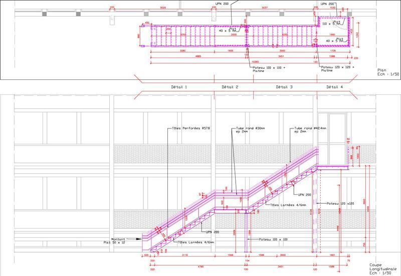 Plan Exe : Escalier Métallique