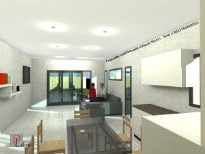 Vue intérieur - Salon avec cuisine ouverte