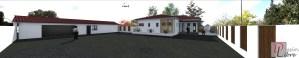 Maison Moderne de Plain-Pied - Vue depuis l'Entrée du Terrain