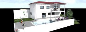 Axonométrie - Façade Sud - Terrasse et piscine