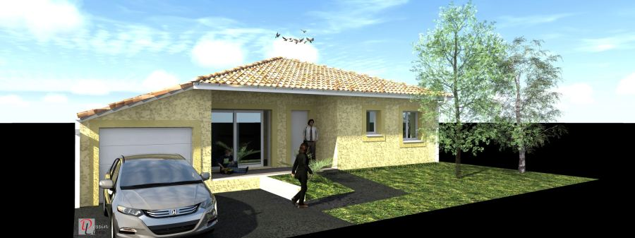 Maison rectangulaire de 106 m²( T5) avec un Garage attenant- Muret (31)