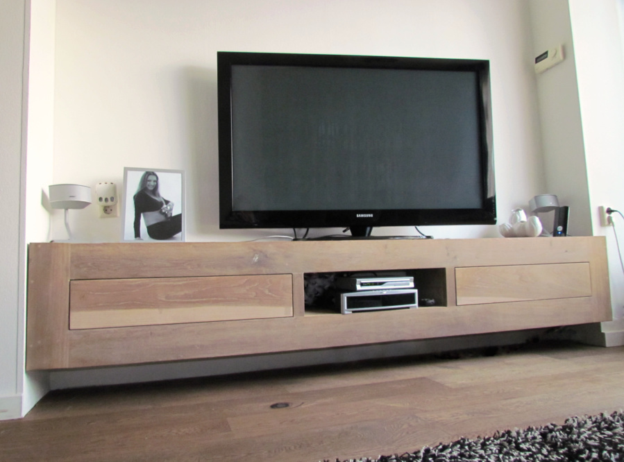 Low Board Eiken Tvmeubel | Zwevend Tv-meubel Van Eiken | Hangend Tv