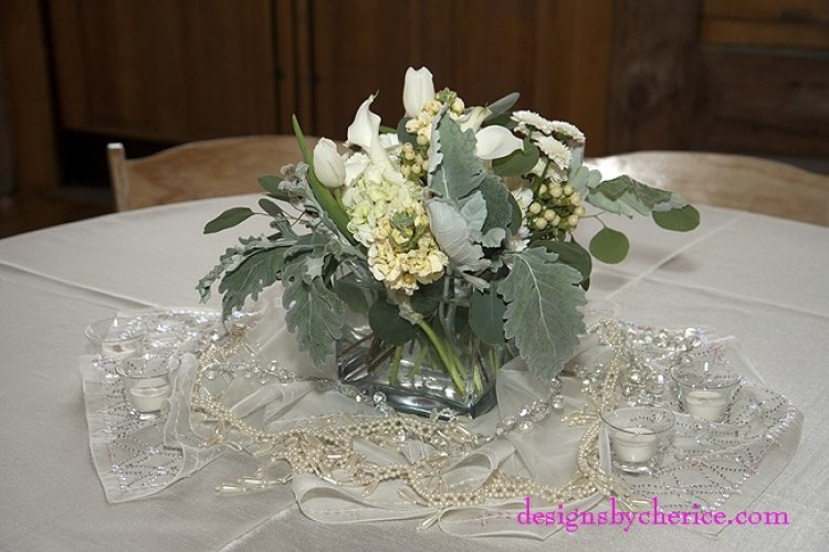 Rustic chic Colorado Mountain wedding white centerpiece