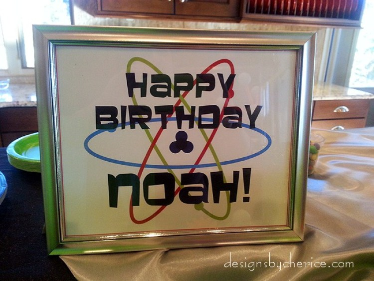 Atomic birthday sign. Frame is from The Dollar Store.