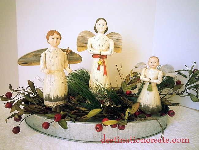 Folk art Christmas angel vignette