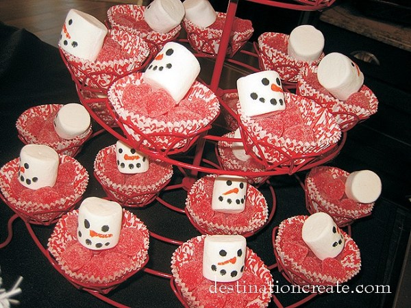 Snowman Table Setting with marshmallow snowmen and cinnamon jelly hearts