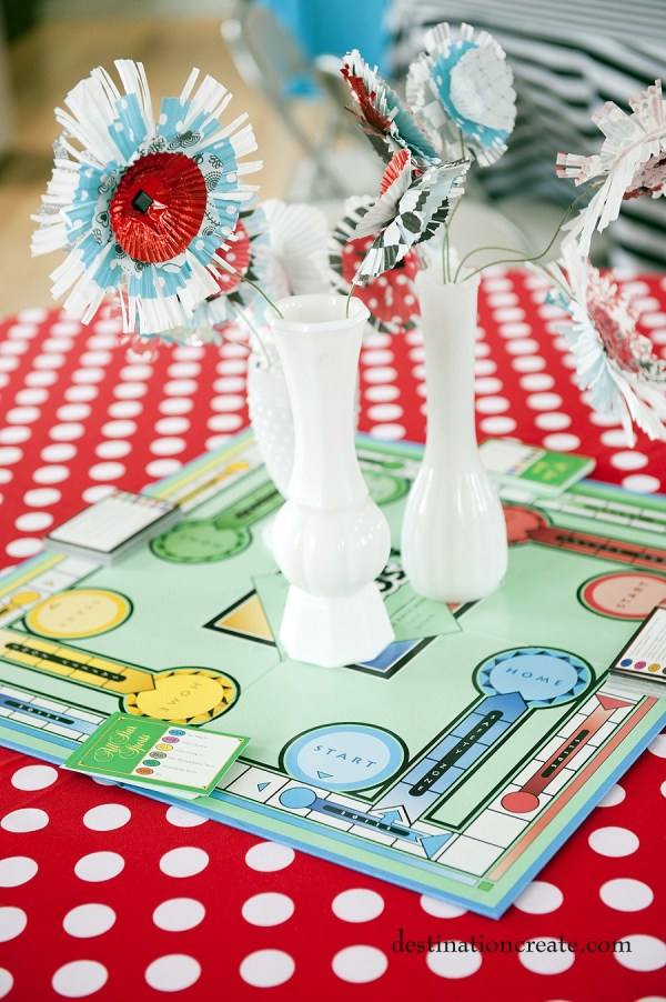 Game boards anchor the centerpieces for a game loving bride.