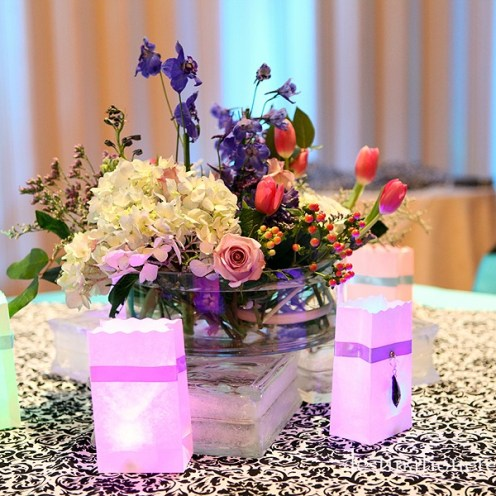LDS Cultural Hall Reception...Black Damask with Purple & Blue: Destination Create specializes in LDS wedding reception decorating, styling, planning & specialty rentals.