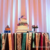 DIY Wedding-Black Damask, purple, blue- cake table