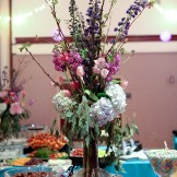 Wedding centerpiece- purple & blue