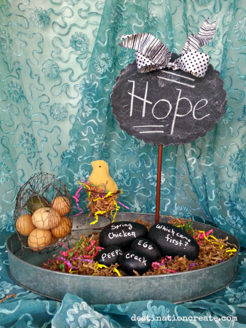 Easter mantel-chalkboard eggs & chick on a bed spring