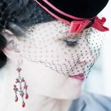 Vintage style bride Denver- wearing charming pillbox hat.