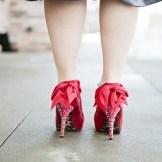 Vintage style bride Denver- gorgeous red shoes!