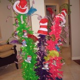 Use brightly colored funky Christmas trees to create a Dr. Seuss party decoration.