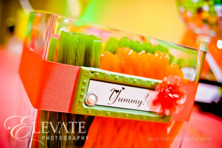 Candy buffet signs at LDS wedding Denver: Destination Create specializes in LDS wedding reception decorating, styling, planning & rentals.
