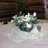 White wedding centerpiece- Evergreen Lake House: Destination Create offers full to partial wedding planning, decorating, styling, planning & specialty rentals.