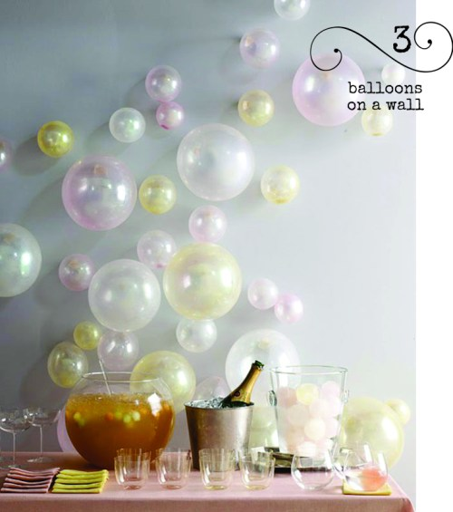 Attach balloons to the wall for a quick inexpensive party decoration. They look like bubbles don't they?