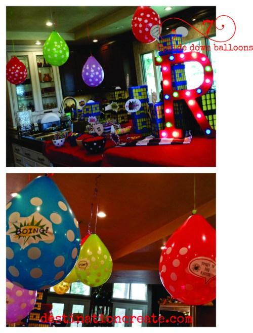 Put a penny in a balloon before inflating and hang upside down for a different twist on decorating with balloons.
