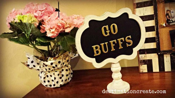 Use puffy stickers on ready-made chalkboard signs to personalize your next party