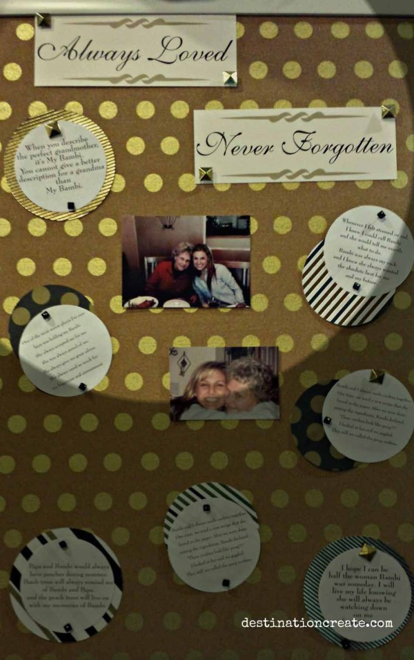 Honor a deceased loved one at a wedding or graduation party with a board full of photos and written memories
