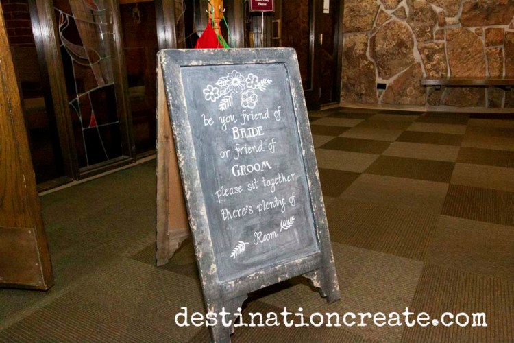 wedding seating chalkboard sign
