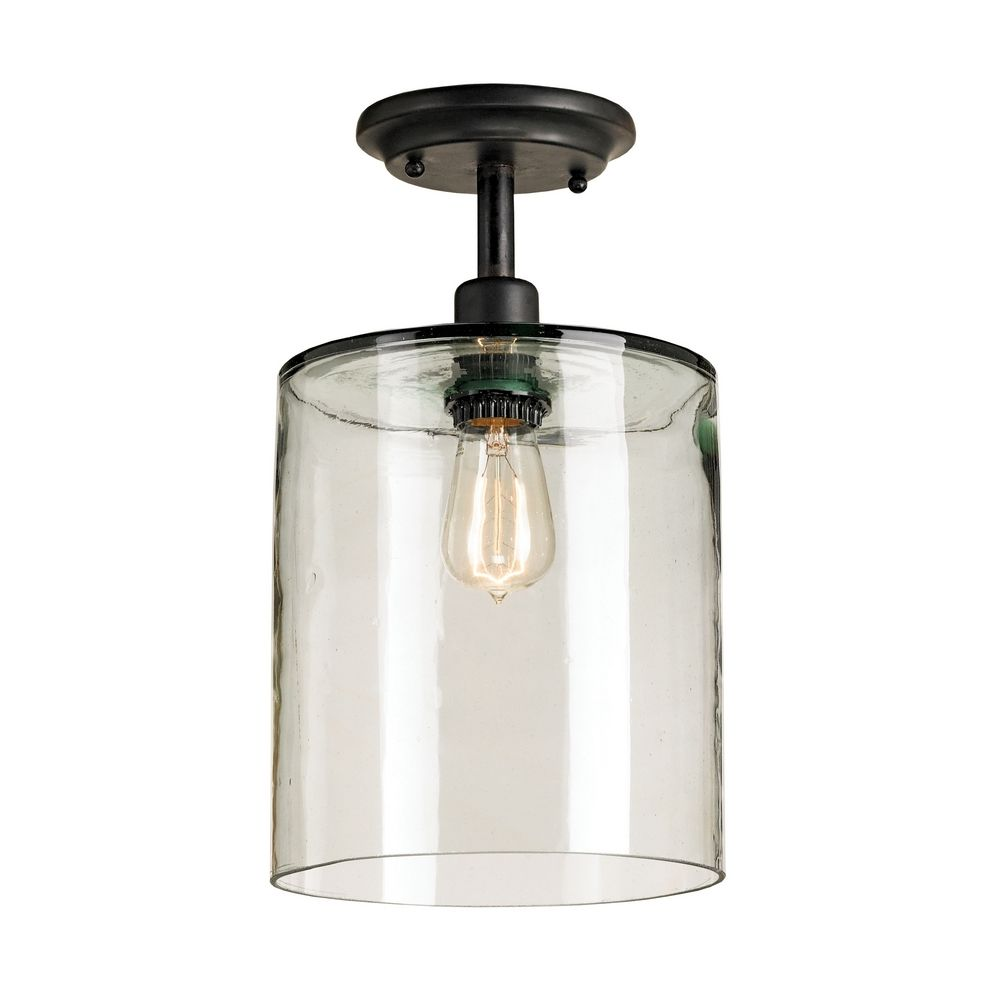Glass Jar Lamp Shade Vintage Style Ceiling Light With Hand Blown Recycled Glass Shade