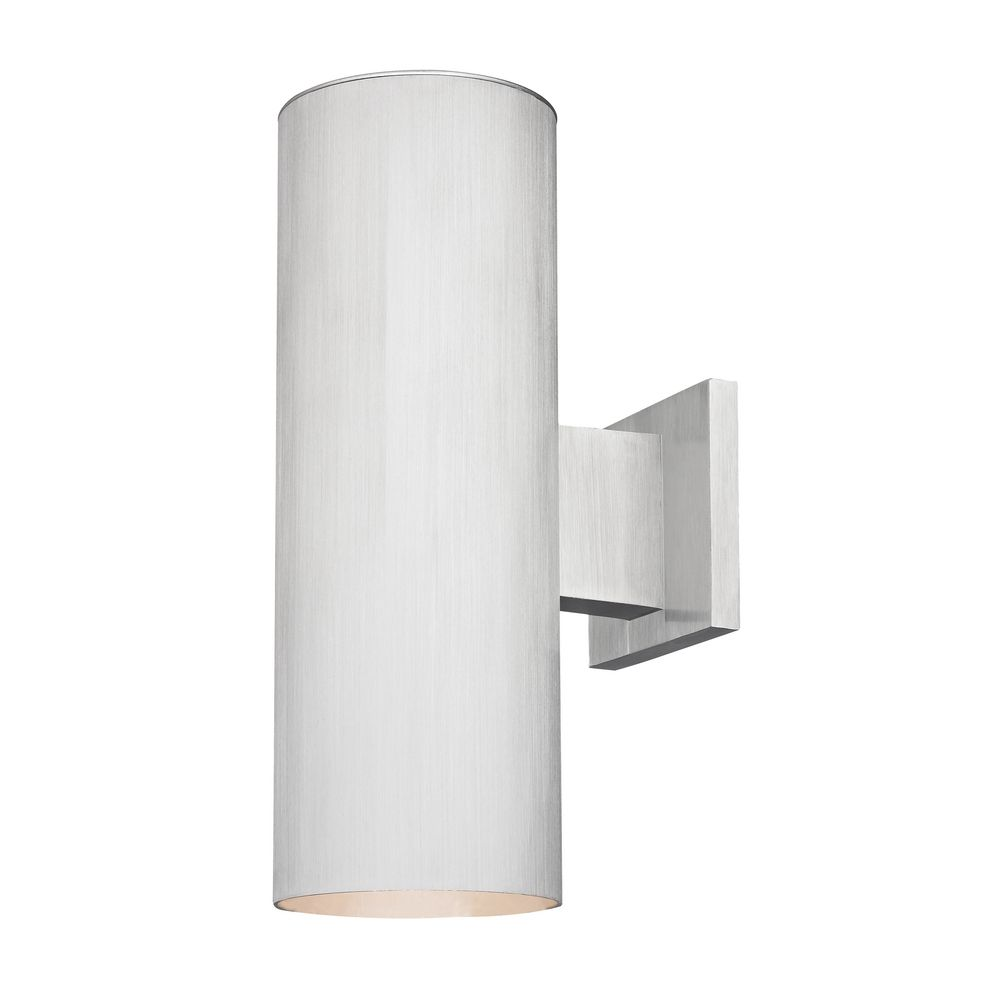 Lighting Wall Lights Up Down Cylinder Outdoor Wall Light In Brushed Aluminum Finish At Destination Lighting