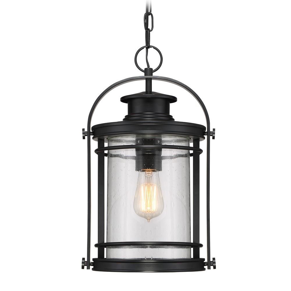 Outdoor Hanging Lamps Seeded Glass Outdoor Hanging Light Black Quoizel Lighting At Destination Lighting