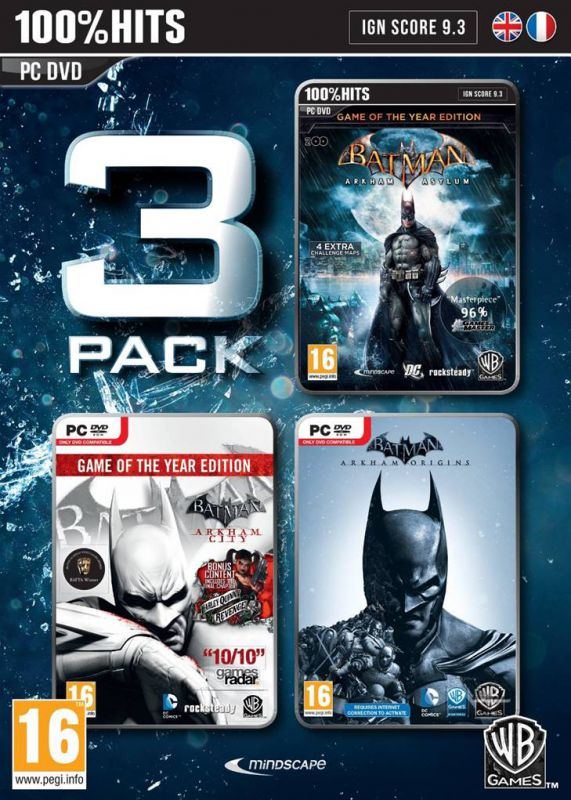 Sac à Dos Noir Lot 3 Jeux Pc - Batman Arkham Asylum + Arkham City