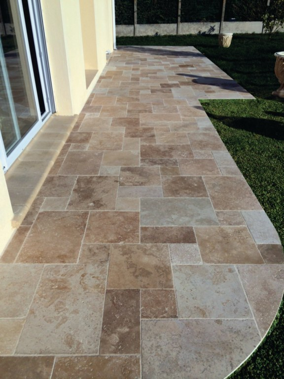 Terrasse En Travertin Avis Carrelage Dallage 3cm Travertin Opus Romain 4t Destockage