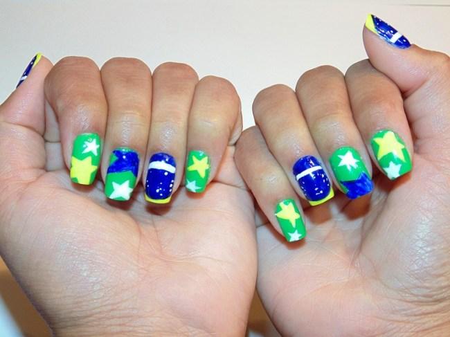 Unhas Decoradas Em Gel Bandeira Do Brasil Copa Do Mundo