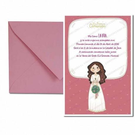 Pack 4 invitaciones Primera Comunión niña con ramo, formato vertical