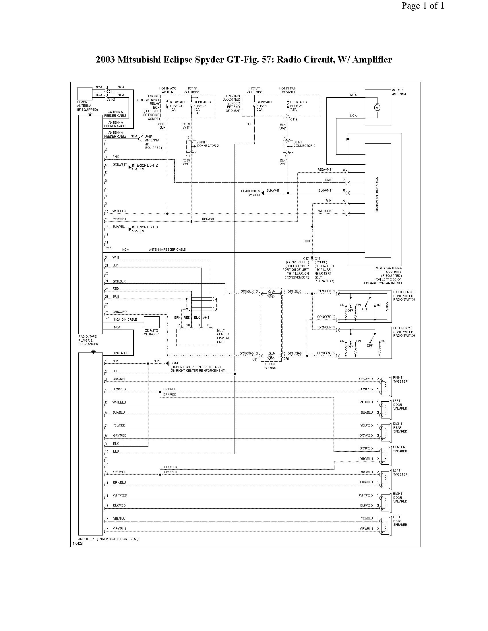 radio wire diagram 2003 mitsubishi eclipse gs