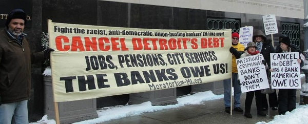 Detroiters demonstrating outside of US Federal Bankruptcy Court