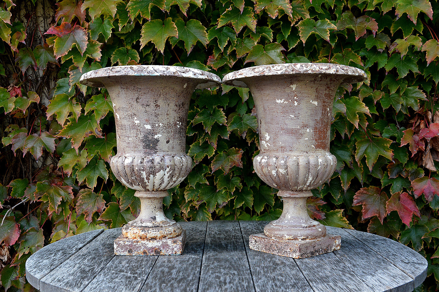 Pair Of Painted 19th C. French Cast Iron Urns