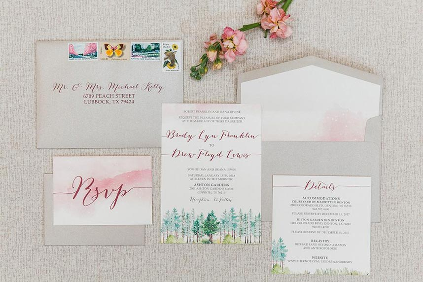Watercolor Invitation Designs from North Texas Wedding Creatives