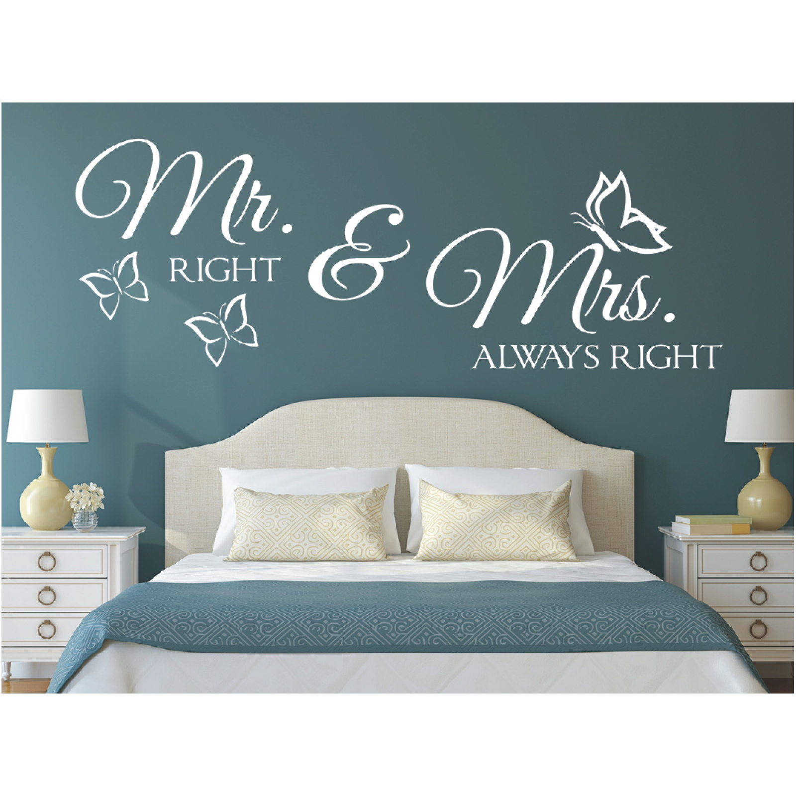 Wandtattoo Schlafzimmer Unendlich Wandtattoo Spruch Mr Right Mrs Always Right Hochzeit Wandaufkleber Sticker