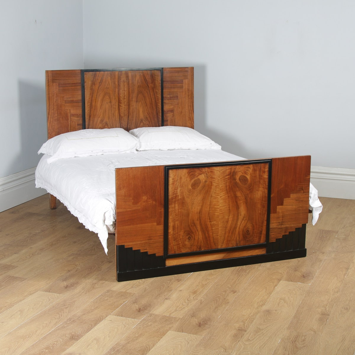 Double Size Bed Antique English Art Deco Figured Walnut 4ft 6 Double Size Bed Circa 1930