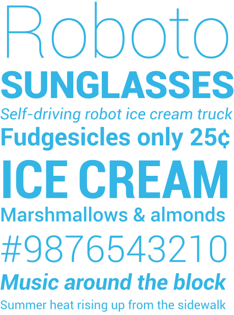 Roboto webfont preview