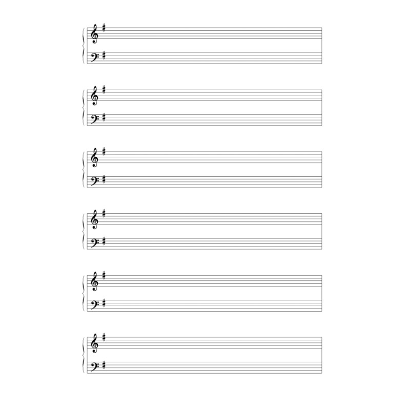 Grand staff paper with treble and bass clef in F major - Devenir Musique
