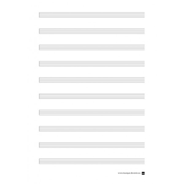 Blank music staff paper, no clef - Devenir Musique - music paper template