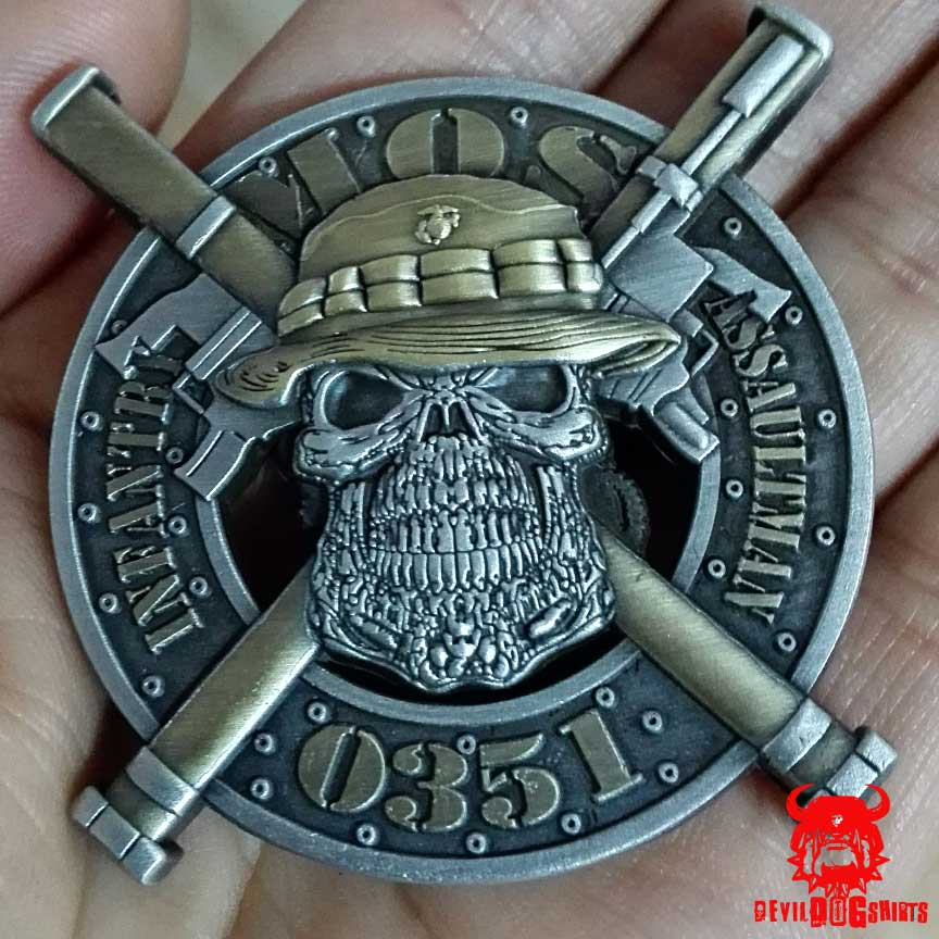 USMC 0351 Infantry Assaultman MOS Coin USMC Challenge Coins - marines infantry assaultman