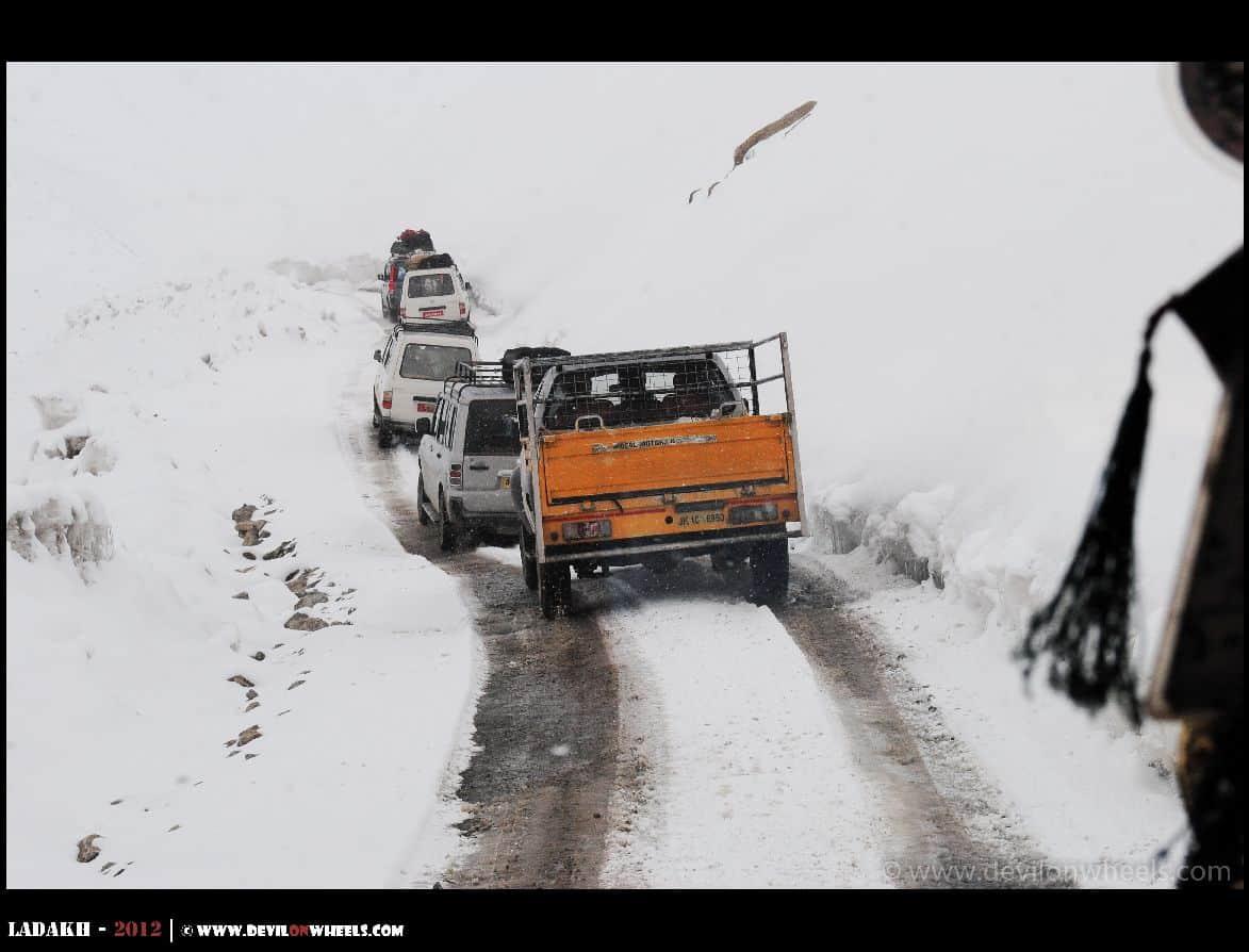 snow on road in Ladakh winters