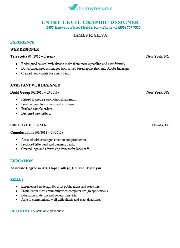 game dev resume example
