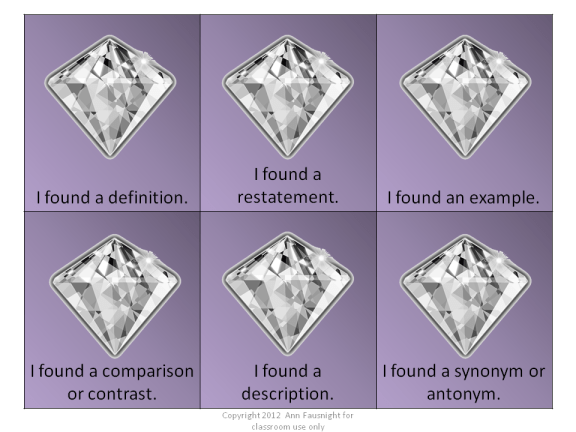 Clues for Context Clues are sparkling gems to help a struggling reader!